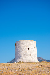 Demolished windmills on the hill in the city of Bodrum © MuamerO