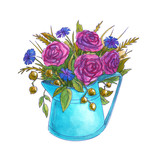 Watercolor bouquet of spring flowers in a watering can. Roses, cornflowers and leaves. Isolated on white background. Hand drawn illustration.