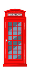 London red telephone booth with payphones. Cabin booth, communication device. © Idey