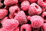 Red frozen raspberries