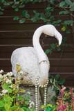 White stork, a decorative ornament in the garden