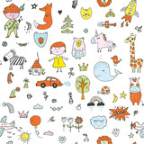 Kids doodle seamless pattern for the kindergarten, cute design. Vector graphic illustration