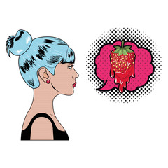woman with speech bubble about comic