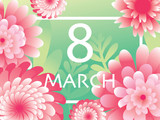 Pink green 8 March. Happy Women`s Mother`s Day. Floral Greeting Card. Paper cut Flowers. Origami flower. Square frame.