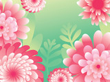 Pink green 8 March. Happy Women`s Mother`s Day. Floral Greeting Card. Paper cut Flowers. Origami flower.
