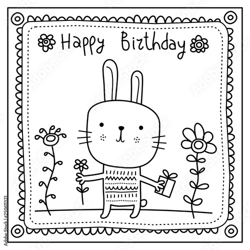 Funny Rabbit With Gift And Flower Happy Birthday Card In Doodle Style