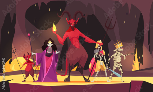 Evil Characters Cartoon Composition