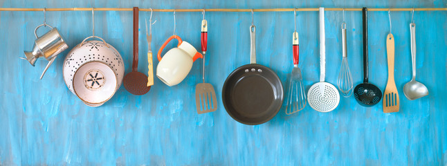 Kitchen utensils for commercial kitchen, restaurant,cooking, kitchen and food concept. © Thomas Bethge