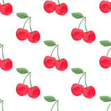 Seamless vector watercolor cherry pattern. Vector illustration.