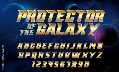 SuperHero font. Metallic effect letters and numbers on an universe background. © FotoGraphic