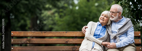 smiling senior couple embracing while sitting on wooden bench in park - 250630395