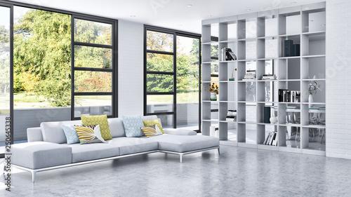 large luxury modern bright interiors room illustration 3D rendering © 3DarcaStudio