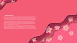 abstract vector backgrount with cut layers effect, abstract cherry flowers and space for your text