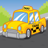 Taxi car cartoon, cartoon vector, cute vector