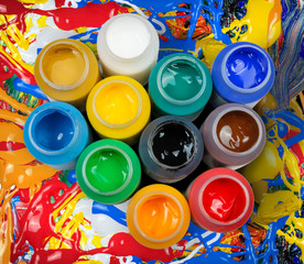 Acrylic paints in the plastic containers