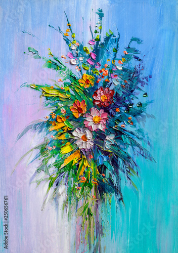 Oil painting a bouquet of flowers . © serge-b