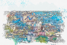 """Постер, картина, фотообои """"Watercolor sketch or illustration of a beautiful panoramic view of Rome in Italy. Traditional European architecture"""""""