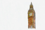 Fototapeta Big Ben - Watercolor sketch or illustration of a beautiful view of the Big Ben in London in the UK © CaptainMCity