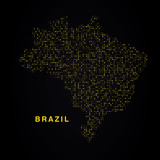 Brazil map of golden glitters on black background. Modern element geography.