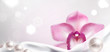 Banner with Orchid and White Satin Fabric