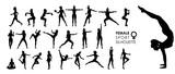 Female Women Sport, Dance, Fight Silhouette Vector 25 Set