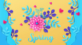 Trendy colored Spring background design with beautiful flowers and plants in waves. Paper cut and craft style. Spring Sale banner, greeting card or flyer. Happy Women's Day. 8 March.