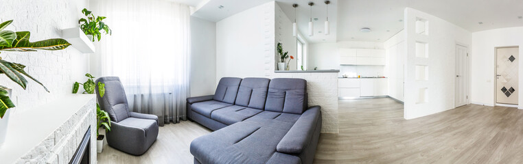 Panoramic view from kitchenette to open living room in modern designed apartment © Angelov