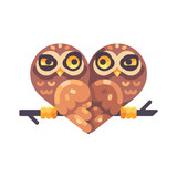 Two funny owls on a branch in the shape of a heart