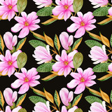 Watercolor pattern with flowers and leaves of magnolia. Illustration. Seamless background with flowers. Botany. Spring. Blooming trees. Vegetable pattern. Garden. Large flowers on a black background.