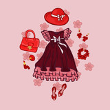 Set of red princess dresses with decorations and accessories