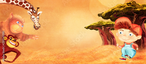 African adventure. Illustration for children, background. - 250745190