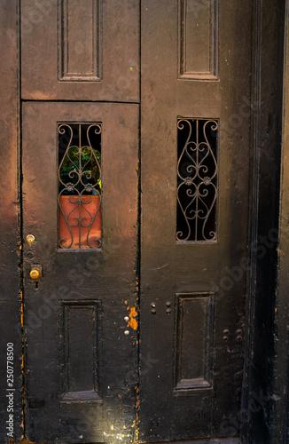 Old Wooden Door With Iron Grate