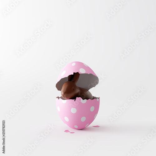 Chocolate bunny in pastel egg on white bright background. Easter minimal concept. 3d rendering © aanbetta