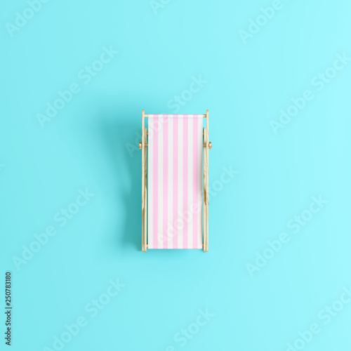 Pink beach chair on pastel blue background. Summer minimal. 3d rendering © aanbetta