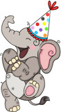 Happy elephant with a party hat
