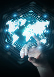 Businesswoman using digital world map interface 3D rendering