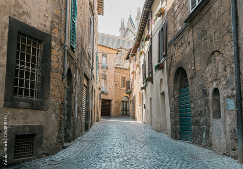 Medieval cozy narrow cobbled street with stone buildings in Italy.  - 250819715