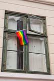 Fototapeta Tęcza - Rainbow flag representing LGBT pride © evannovostro