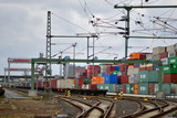 A red signal at a container terminal in germany