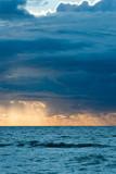View of Mediterranean sea at sunset.