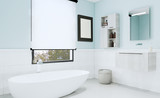 Blue bathroom with modern furniture and decorative tiles. 3D rendering. Mockup. Blank paintings.