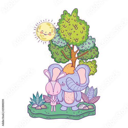 obraz lub plakat little elephant in the landscape