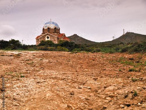 Old orthodox church , on a cliff in Attica,  Greece