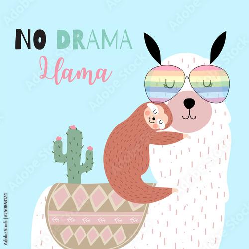 af7180fcf Green hand drawn cute card with llama,glasses,sloth,cactus.No drama ...