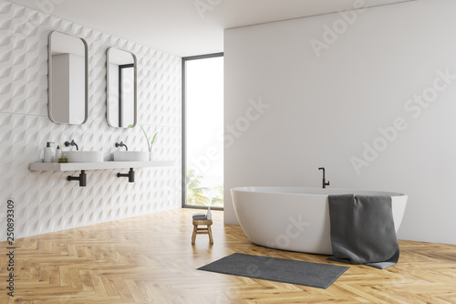 White bathroom corner, tub and sinks © denisismagilov