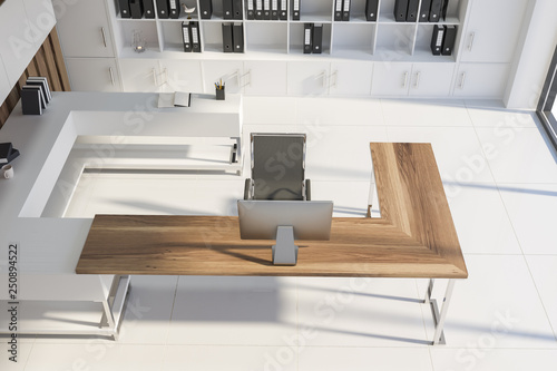 Top view of white manager office with shelves - 250894522