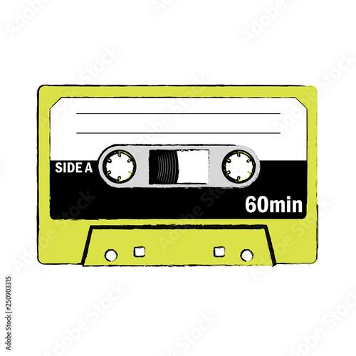 手描きタッチのカセットテープのイラストアナログcassette Tape