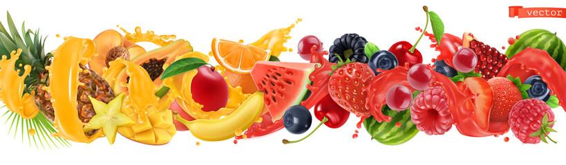 Sweet tropical fruits and mixed berries. Splash of juice. Watermelon, banana, pineapple, strawberry, orange, mango, blueberry, cherry, raspberry, papaya. 3d vector realistic set. High quality 50mb eps © Natis