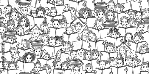 mata magnetyczna Seamless black and white banner of children reading books,