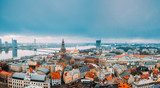 Cityscape In Winter Morning. Skyline With Dome Cathedral. Popular Place With Famous Landmarks. UNESCO World Heritage Site